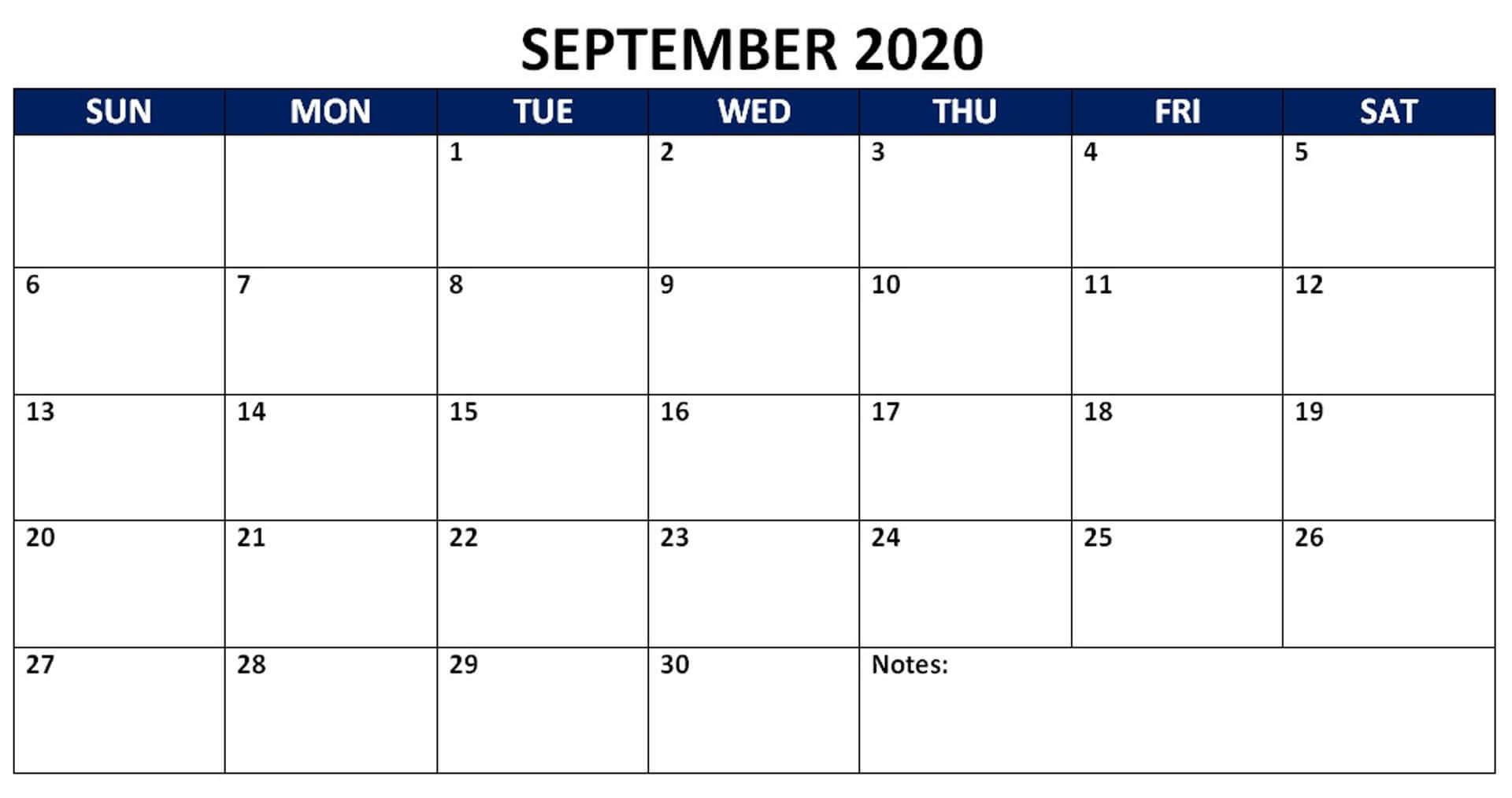 Blank November 2020 Editable Calendar