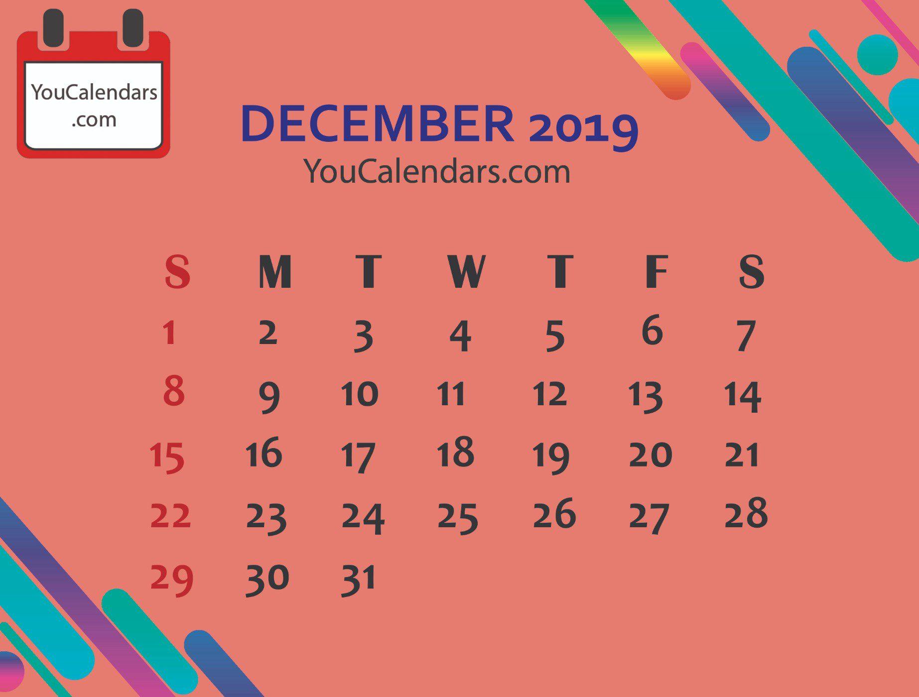 December 2019 Calendar Cute Designs