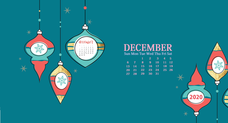 December 2020 Desktop Calendar Wallpaper
