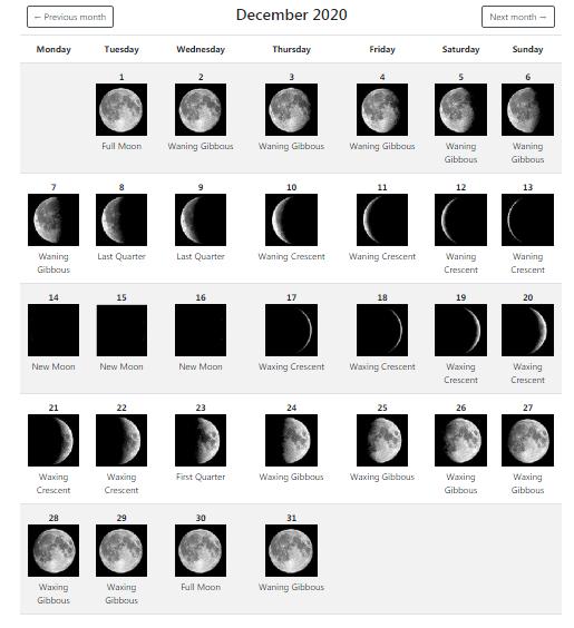 December 2020 Full Moon Calendar