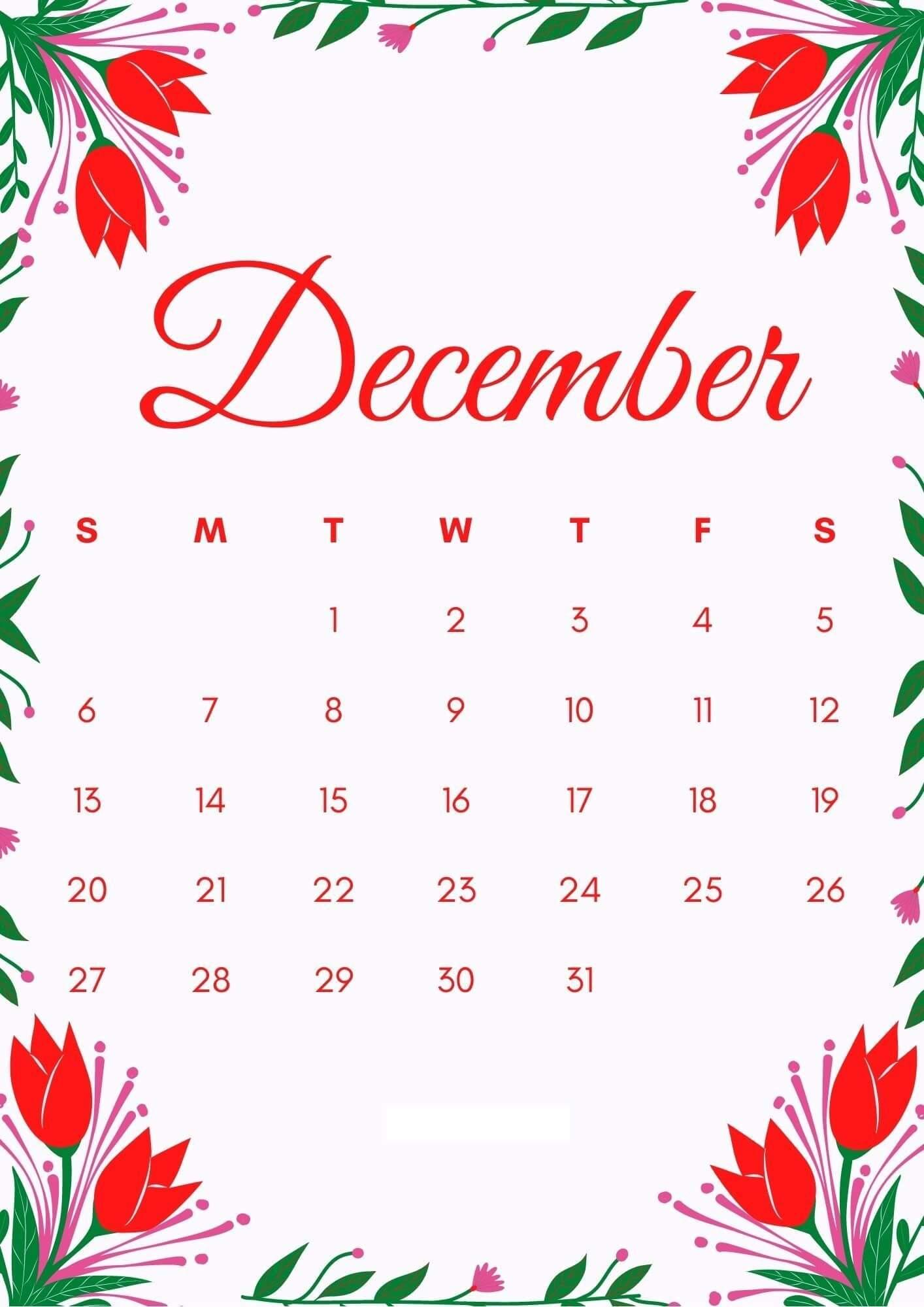 December 2020 iPhone Calendar Wallpaper