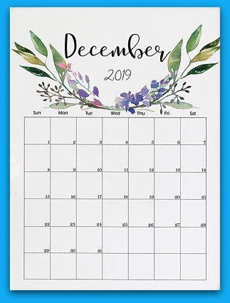 December Wall Calendar Floral 2019
