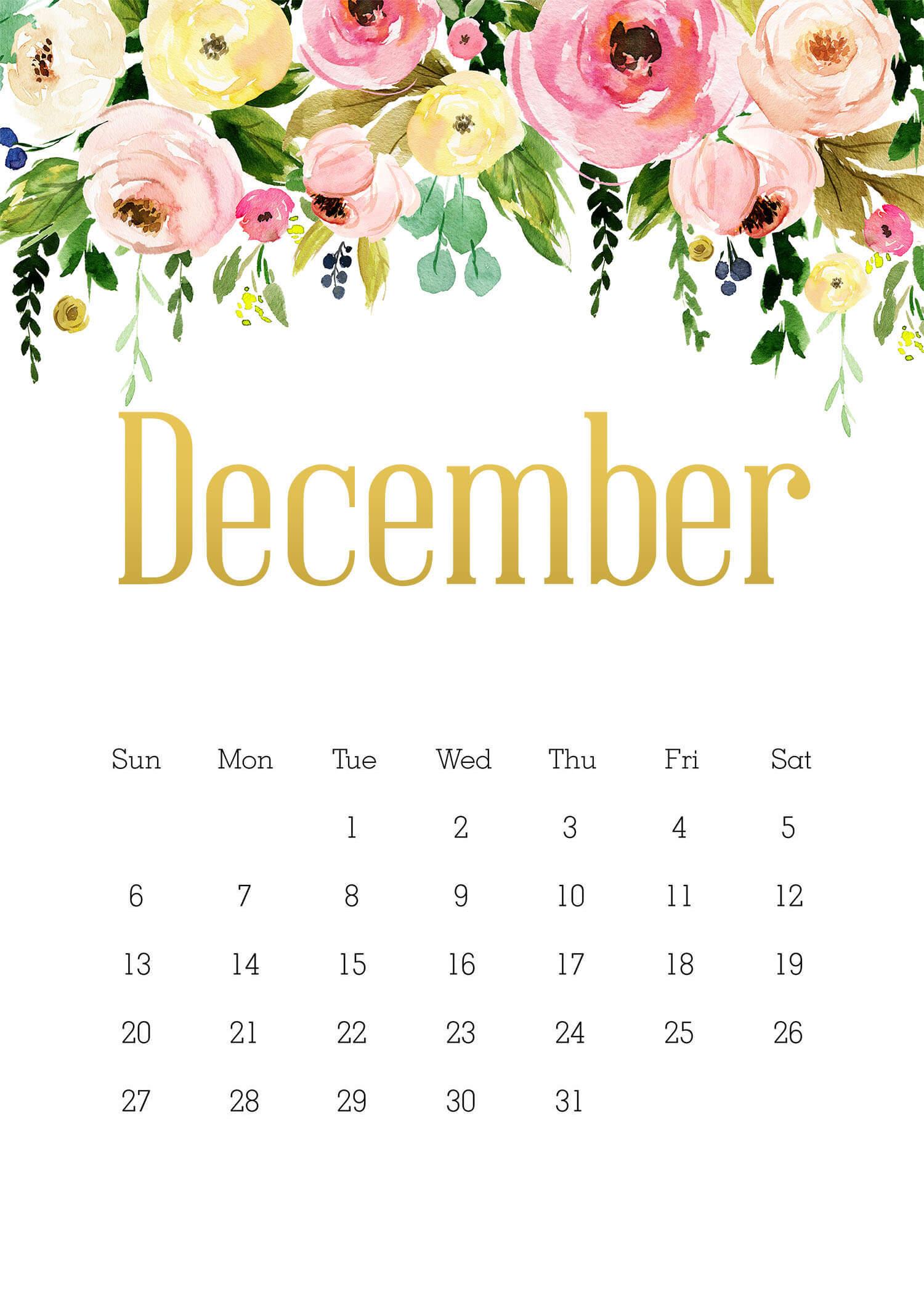 Decorative December 2020 Floral Calendar