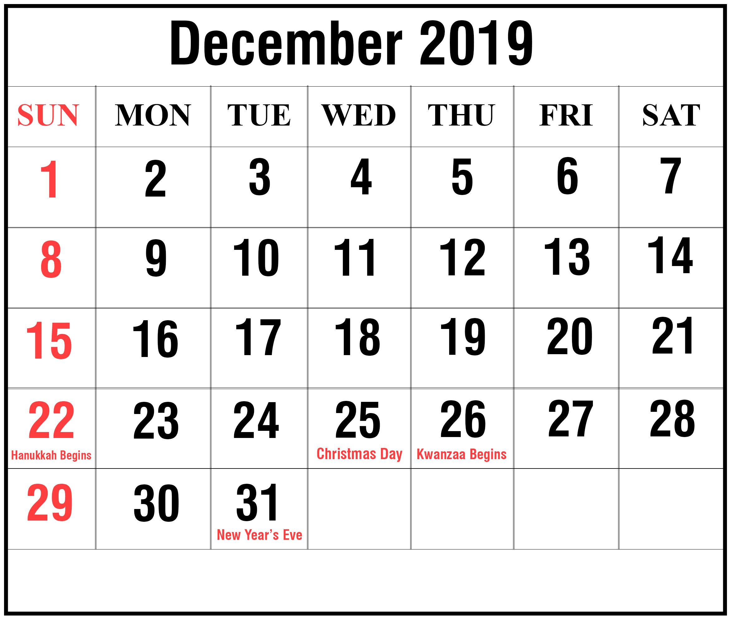 Editable December 2019 Calendar Blank Template