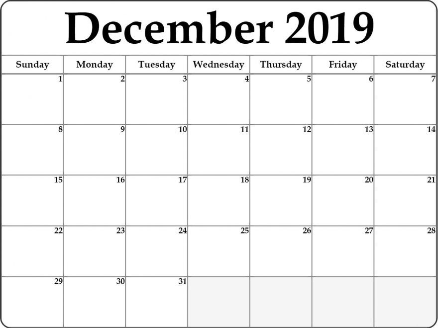 Editable December Calendar 2019 Templates