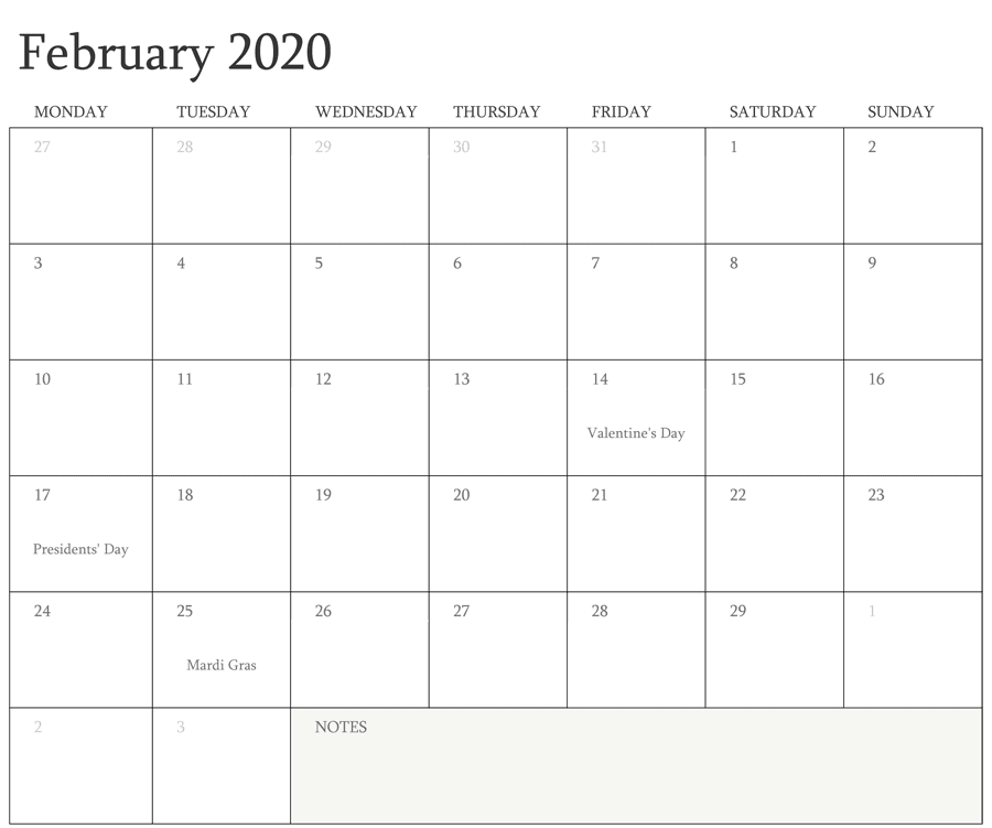 Editable February Holidays 2020 Calendar