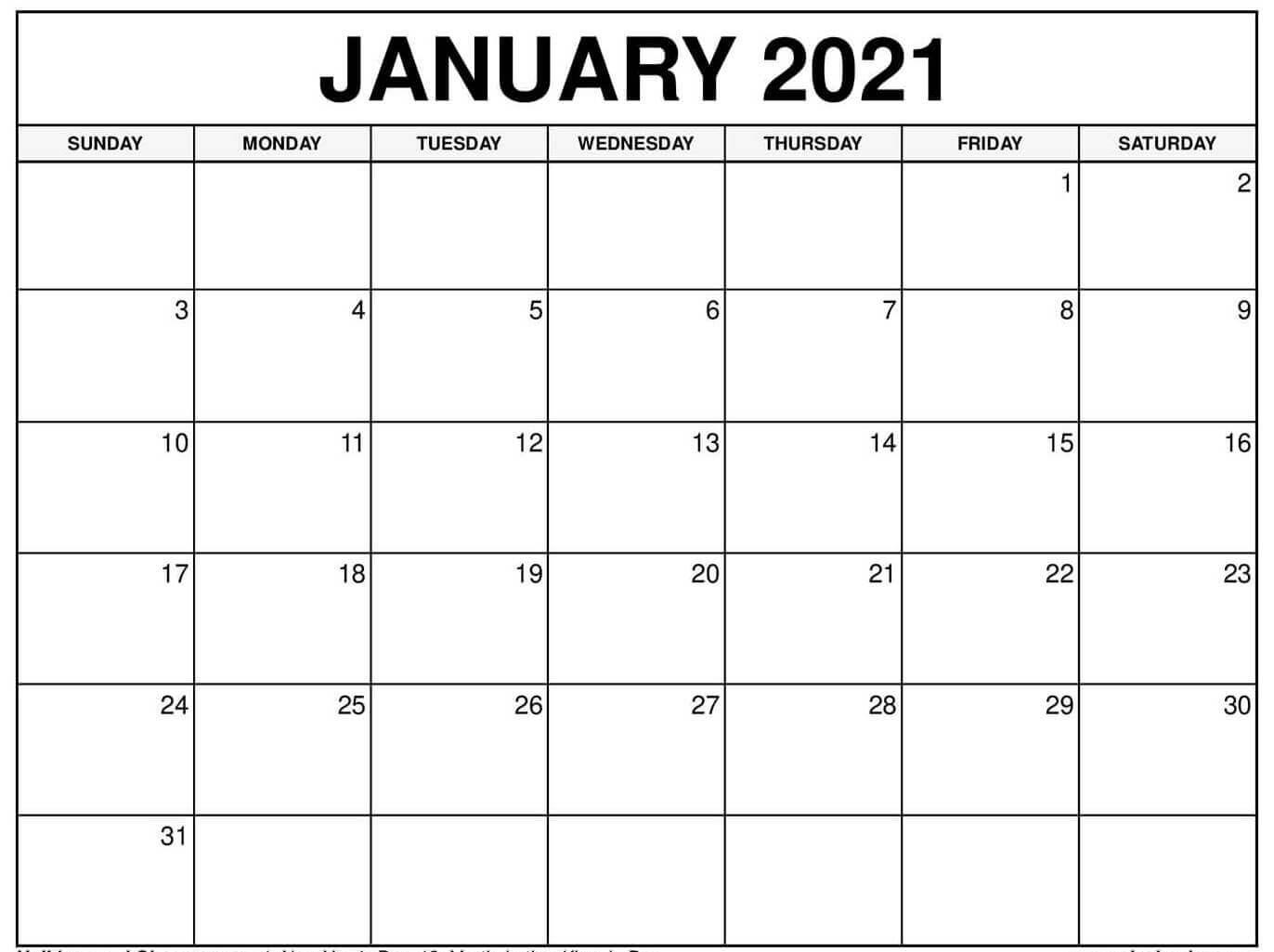 Editable January 2021 Calendar Word