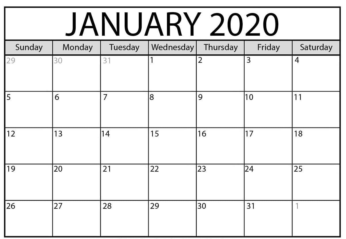 Editable January Calendar 2020 Blank Template