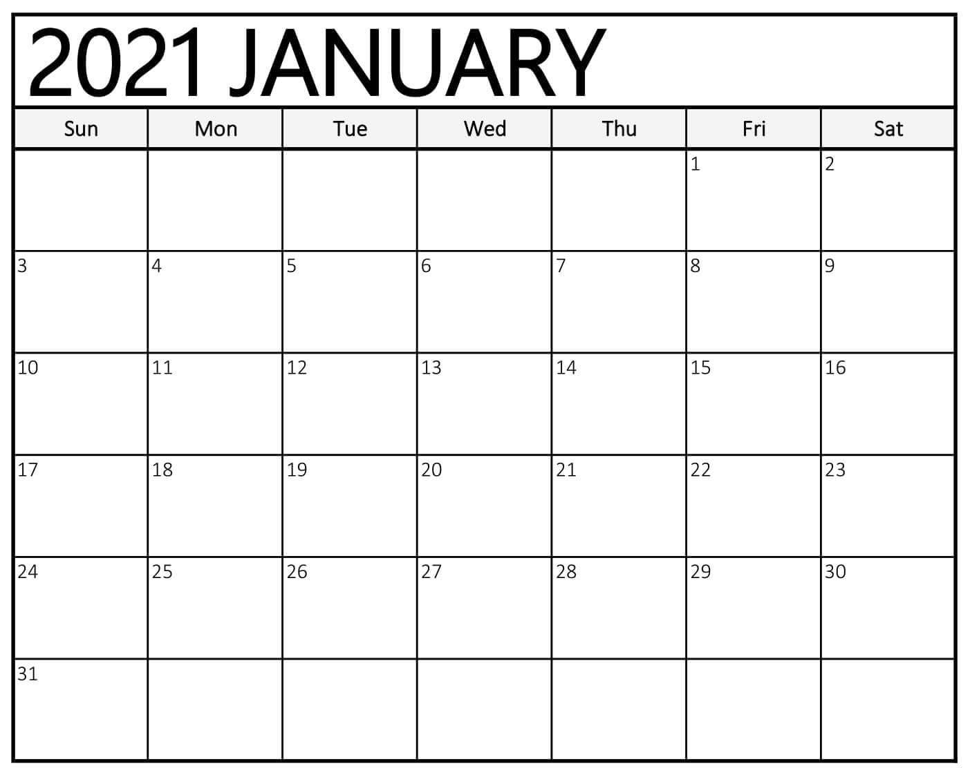 Editable January Calendar 2021 Blank