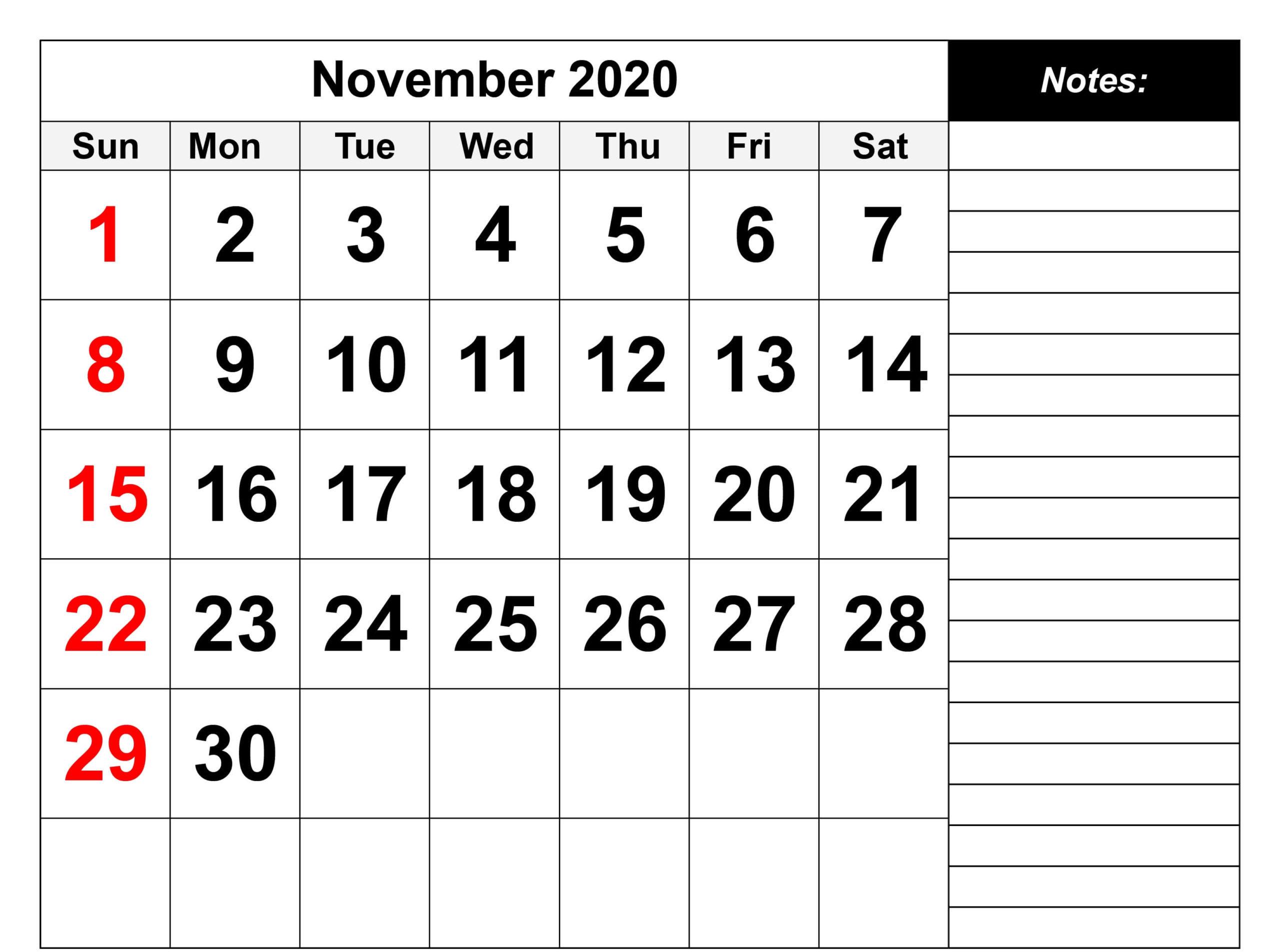 Editable November 2020 Calendar with Notes
