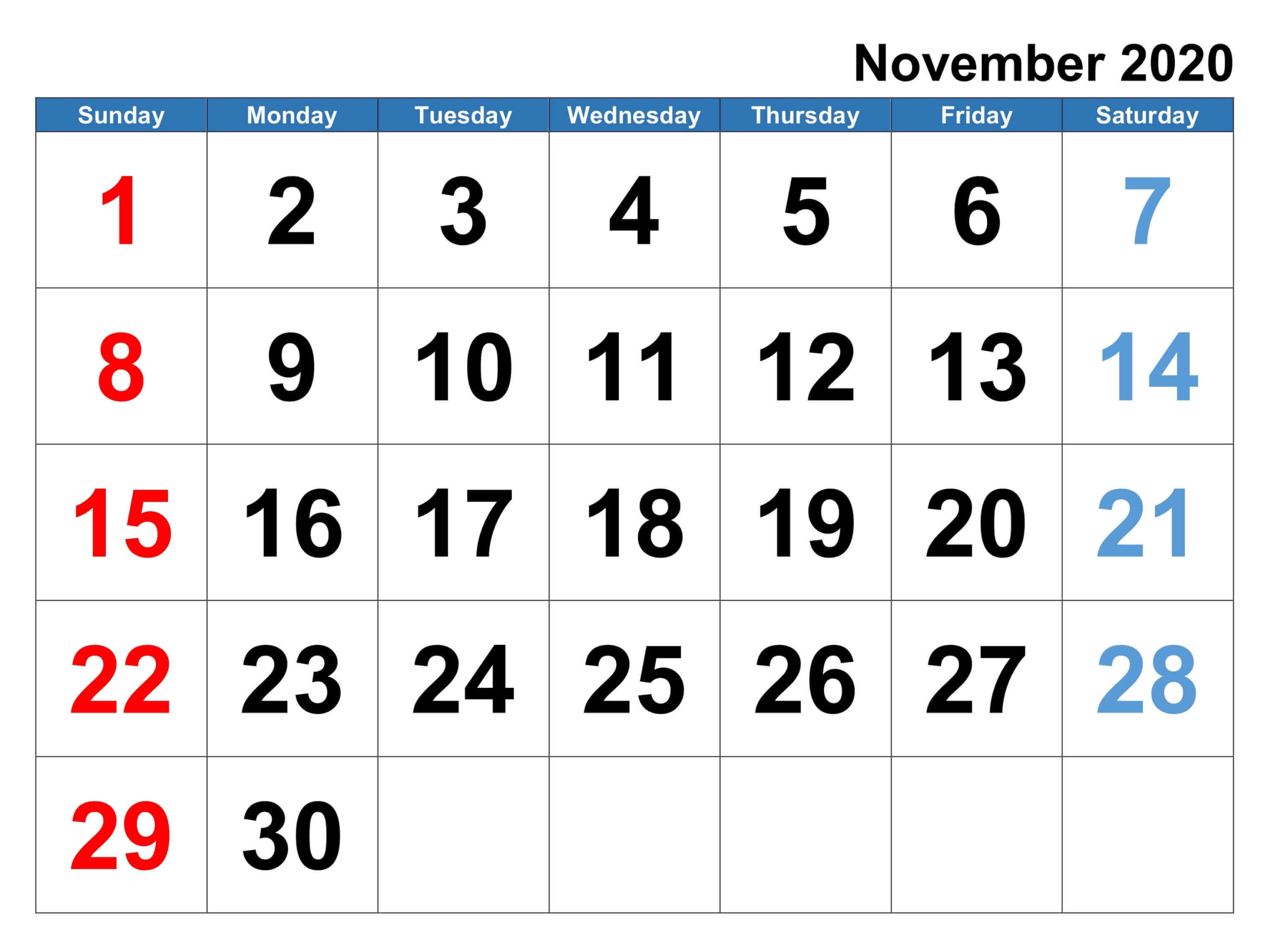 Editable November Calendar 2020 Printable