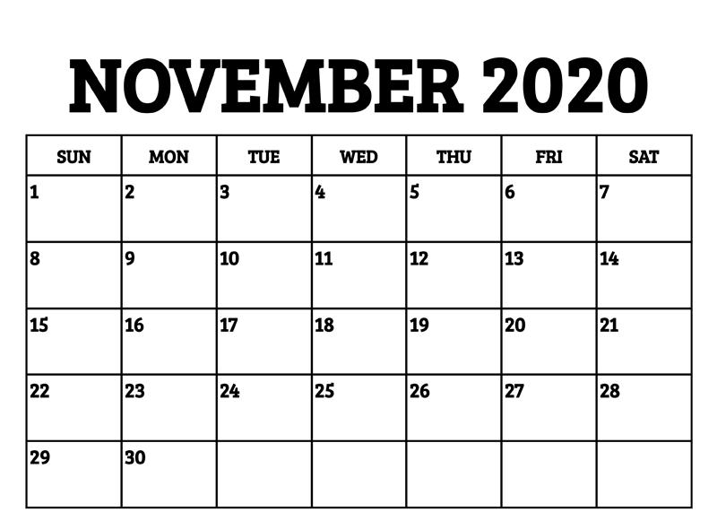 Editable November Calendar 2020 Word