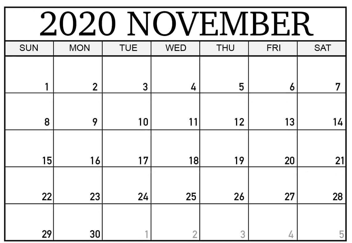 Editable November Calendar 2020