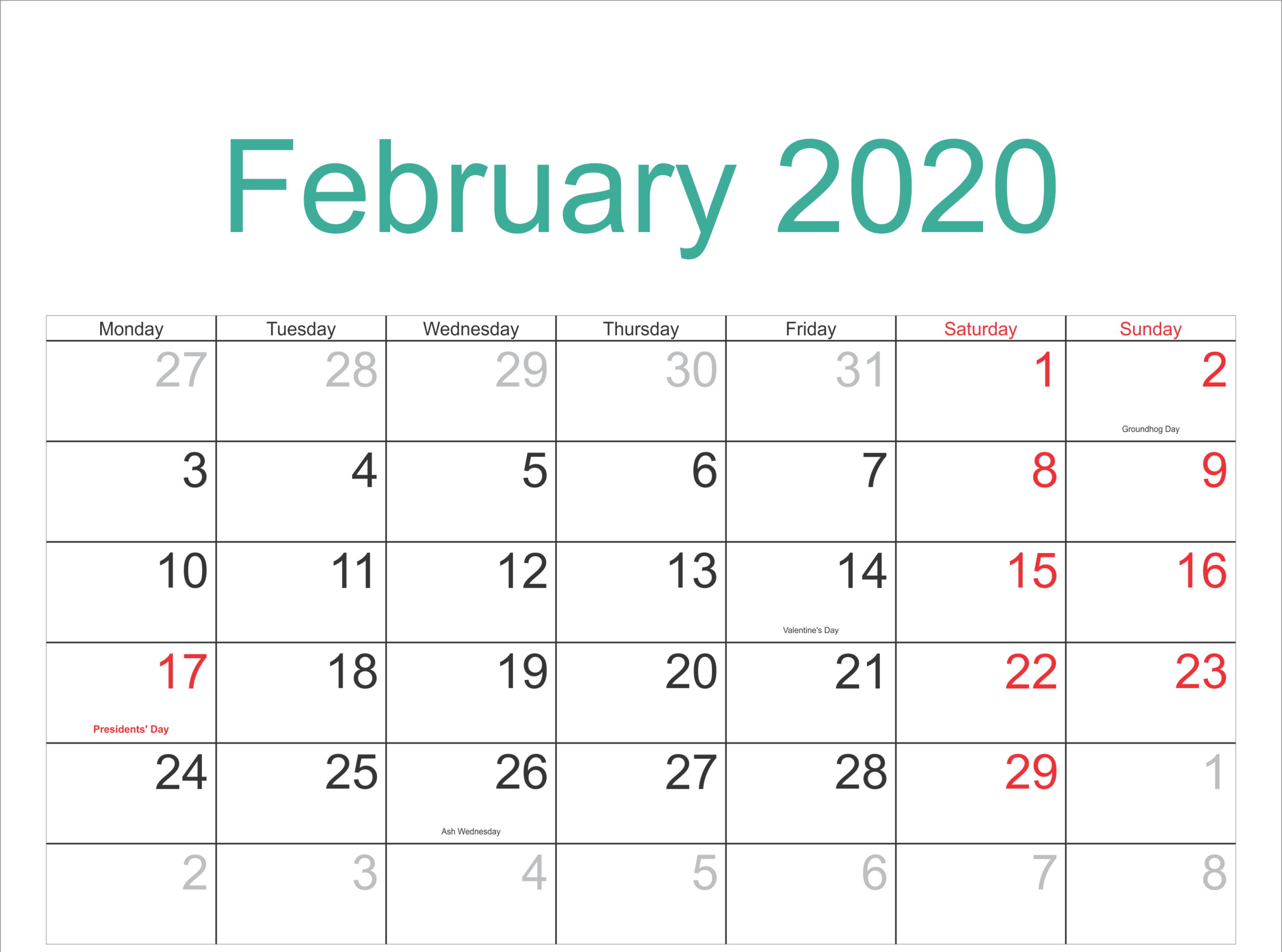 February 2020 Calendar Printable Holidays Full