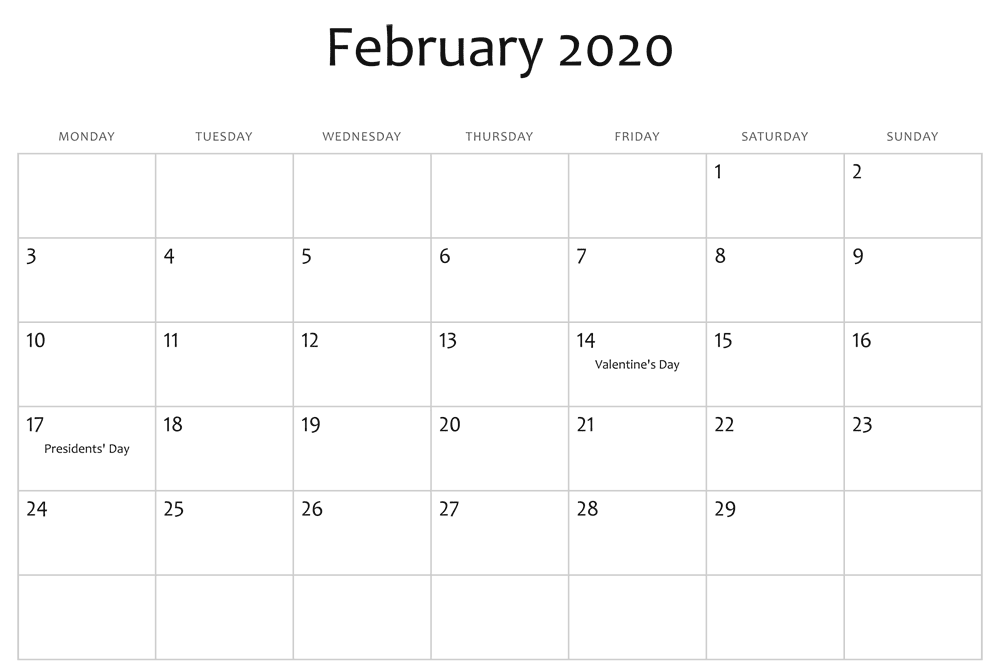 February 2020 Editable Calendar Holidays