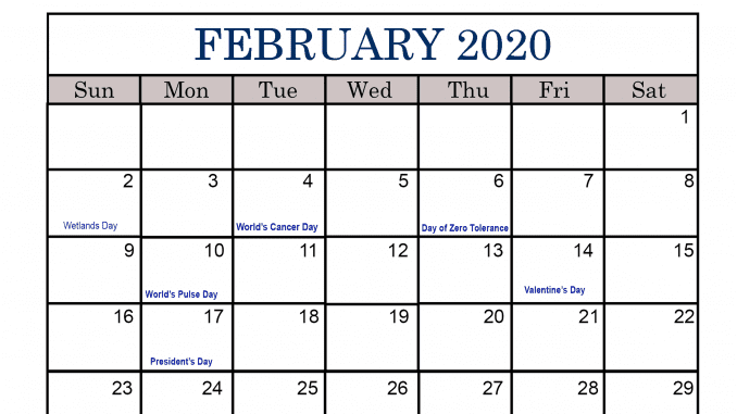 February Calendar 2020 with Holidays