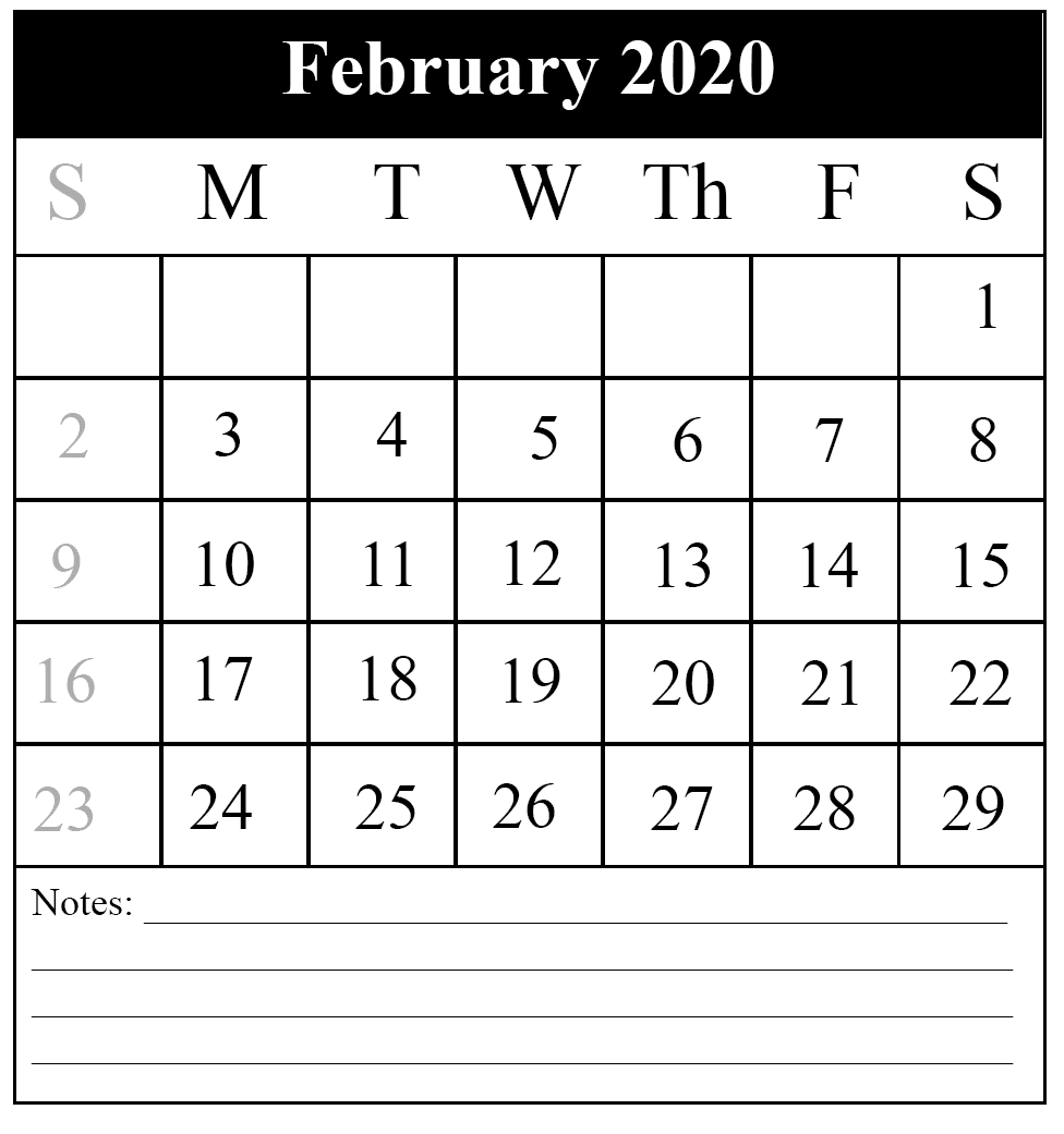 February Holidays 2020 Calendar Free Download