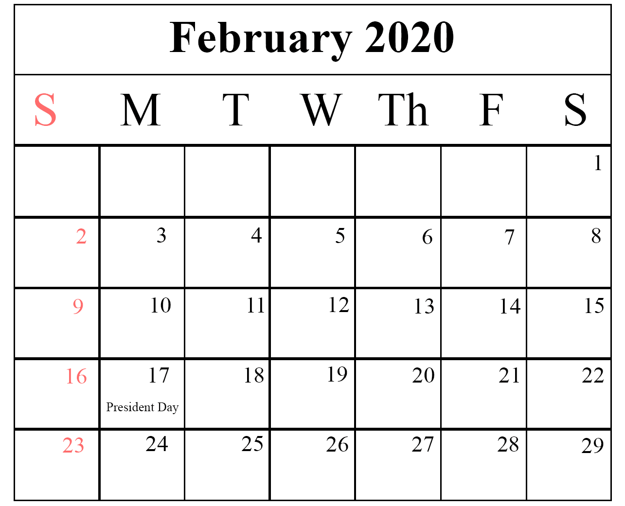 February Holidays 2020 Calendar Template