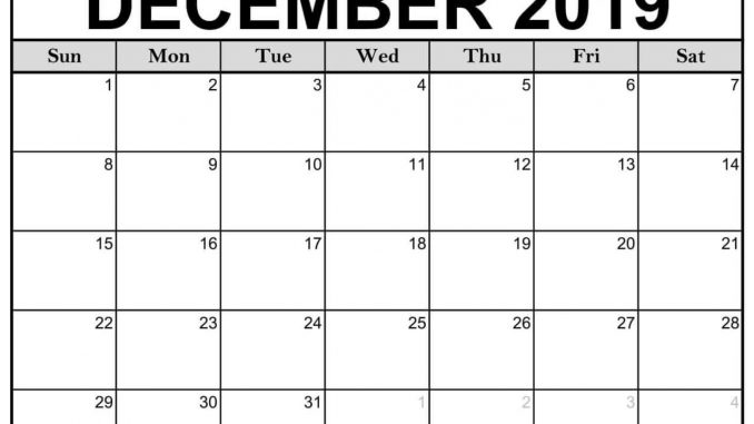 Fillable Calendar of December 2019 Printable