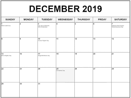 Fillable December 2019 Calendar With Holidays