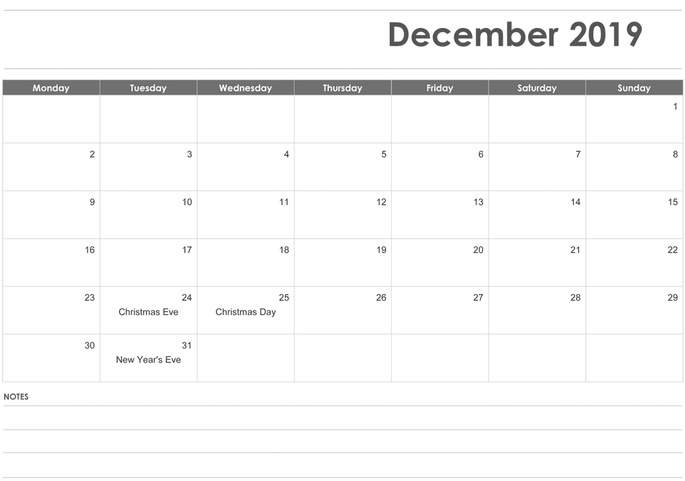Fillable December Calendar 2019