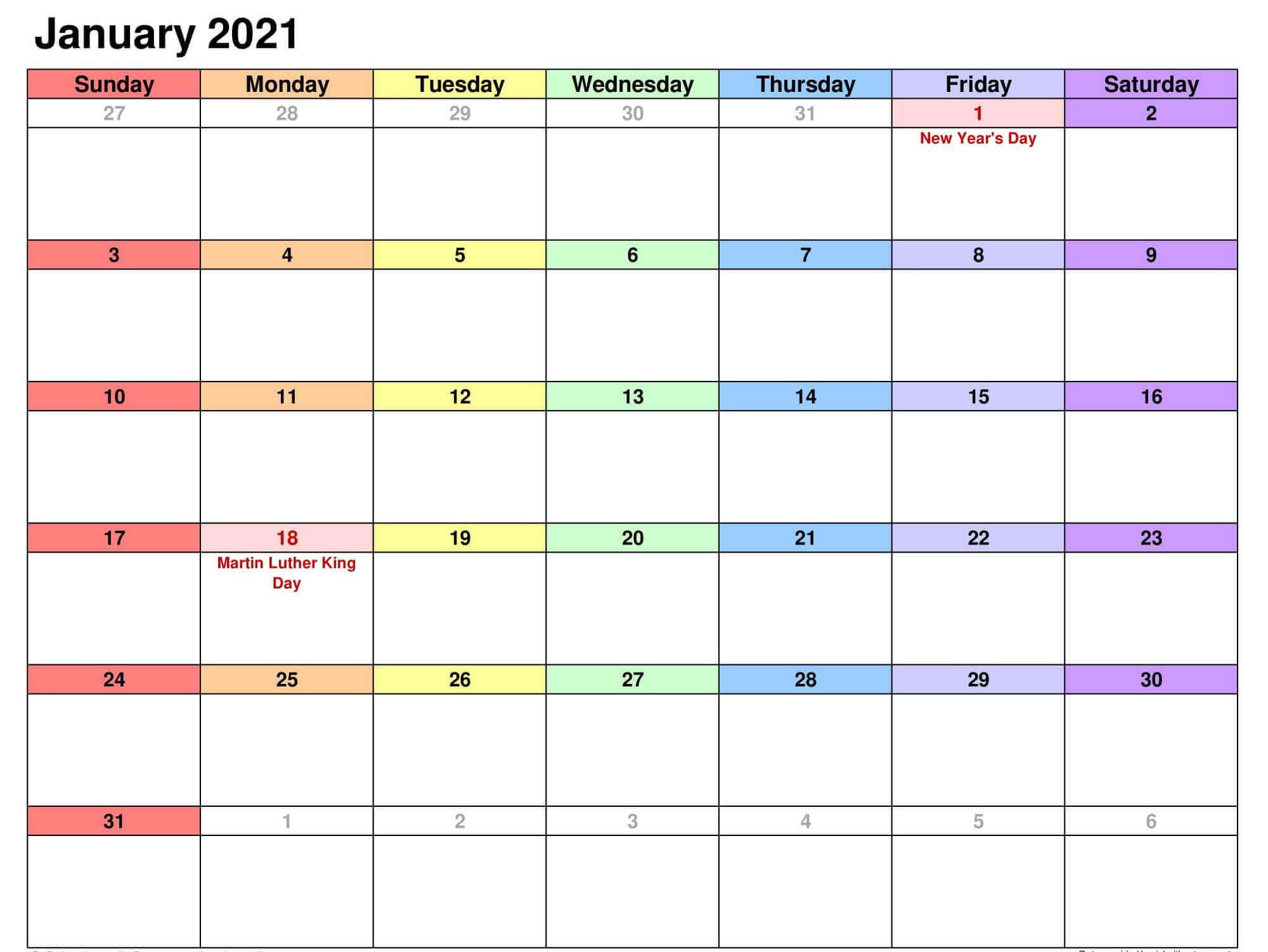 Fillable January 2021 Calendar Excel