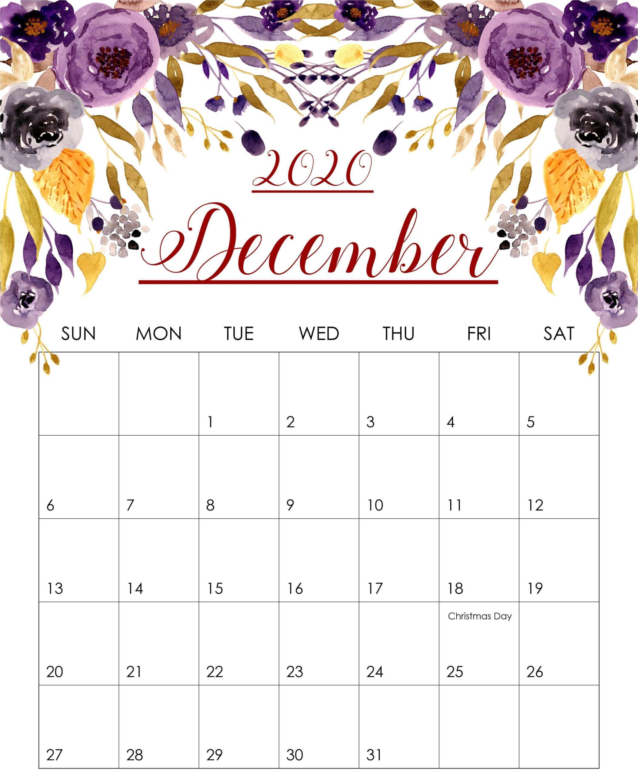 Floral December 2020 Calendar Printable