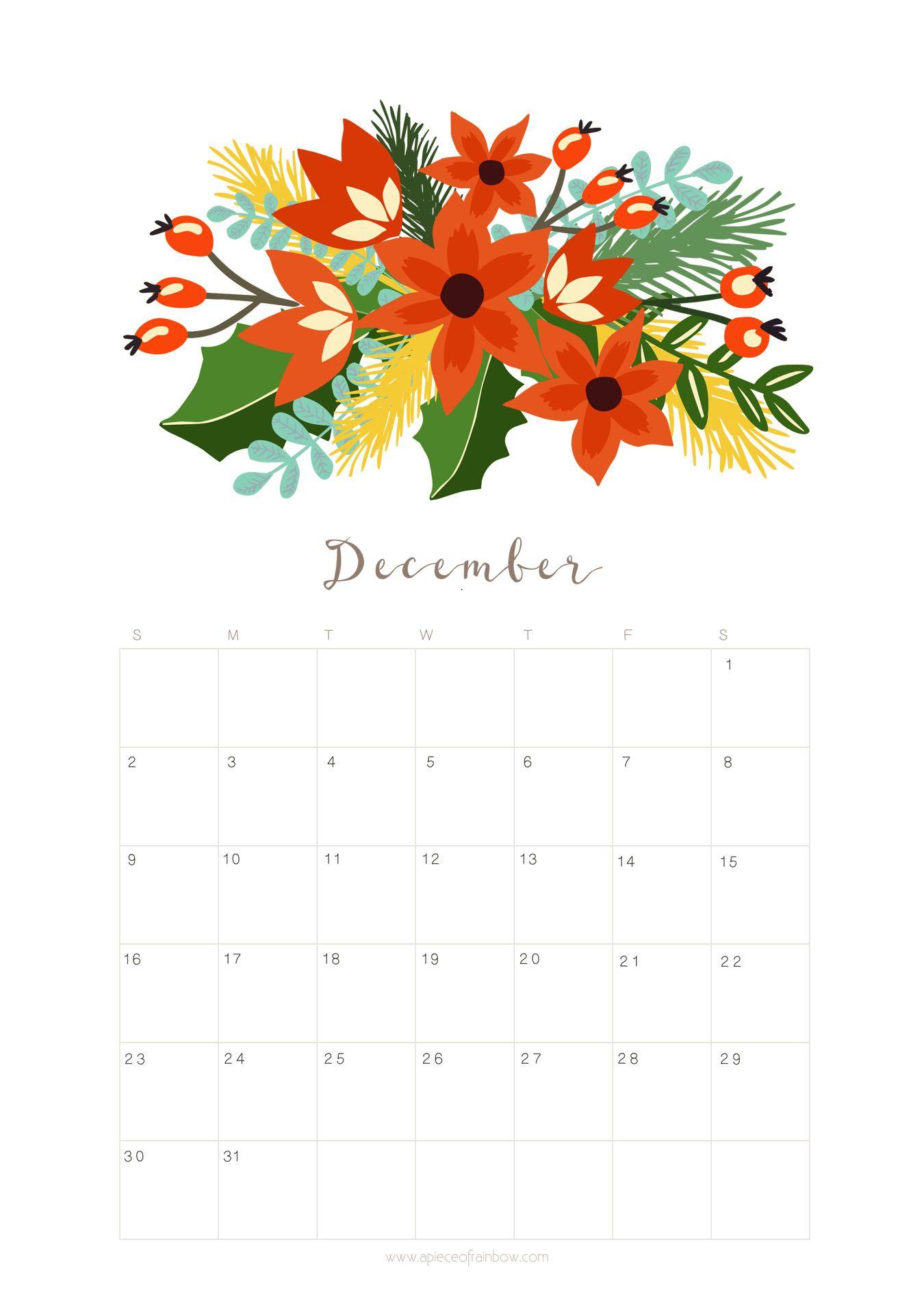 Floral December Calendar 2019 iphone Wallpaper