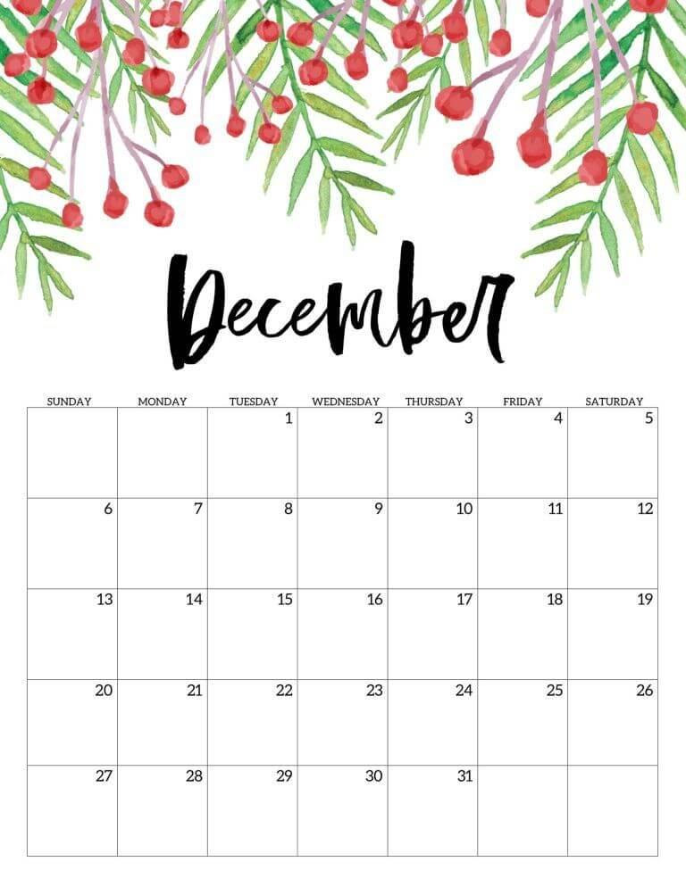 Floral December Calendar 2020