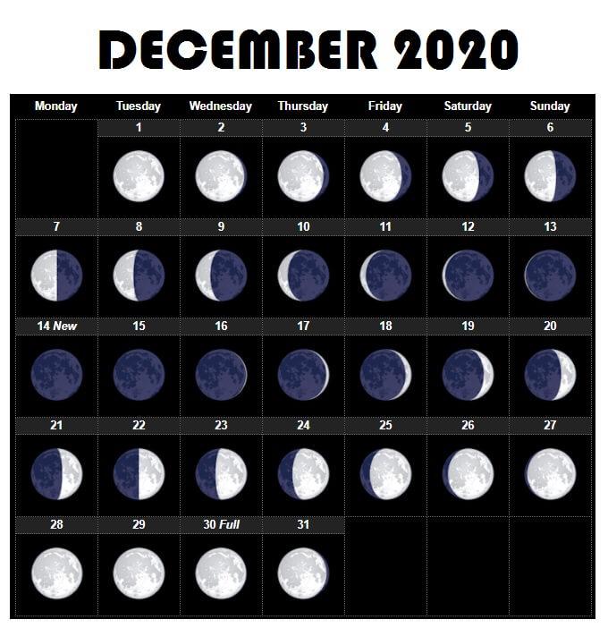 Free December 2020 Calendar Moon Phases