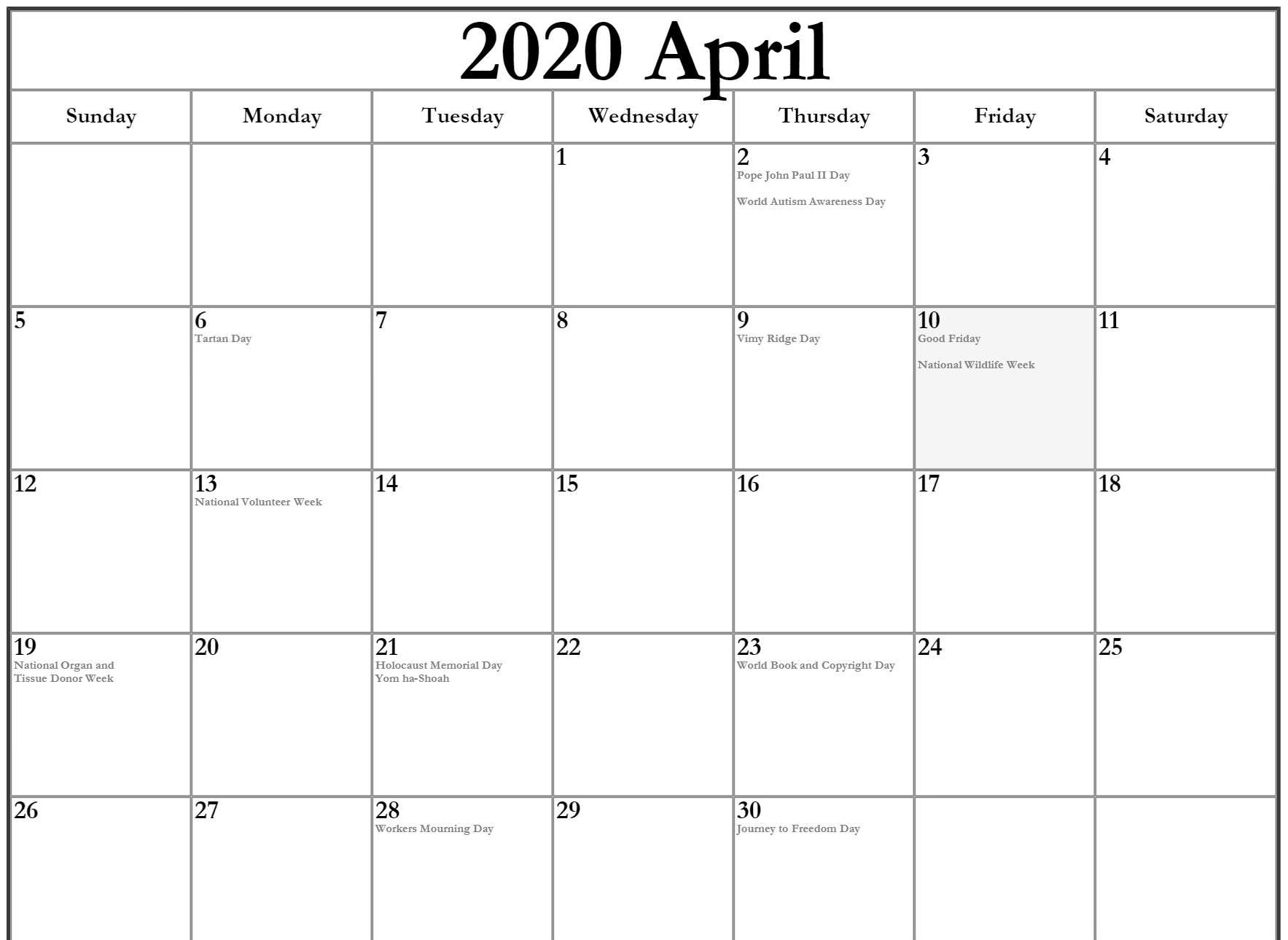 Holidays Calendar for April 2020 Templates