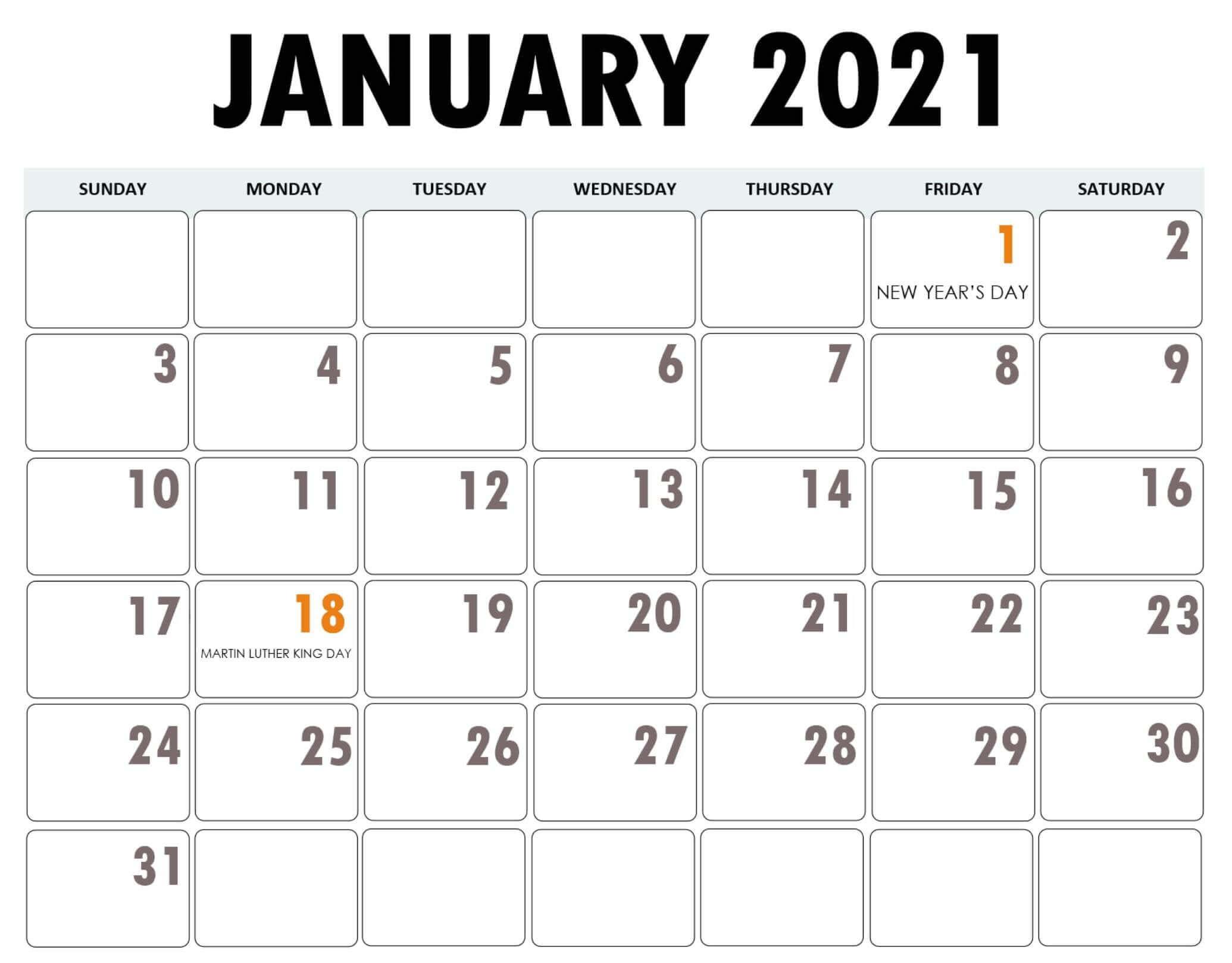 January 2021 Calendar Bank Holidays