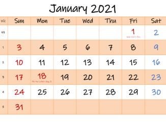 January 2021 Calendar Editable