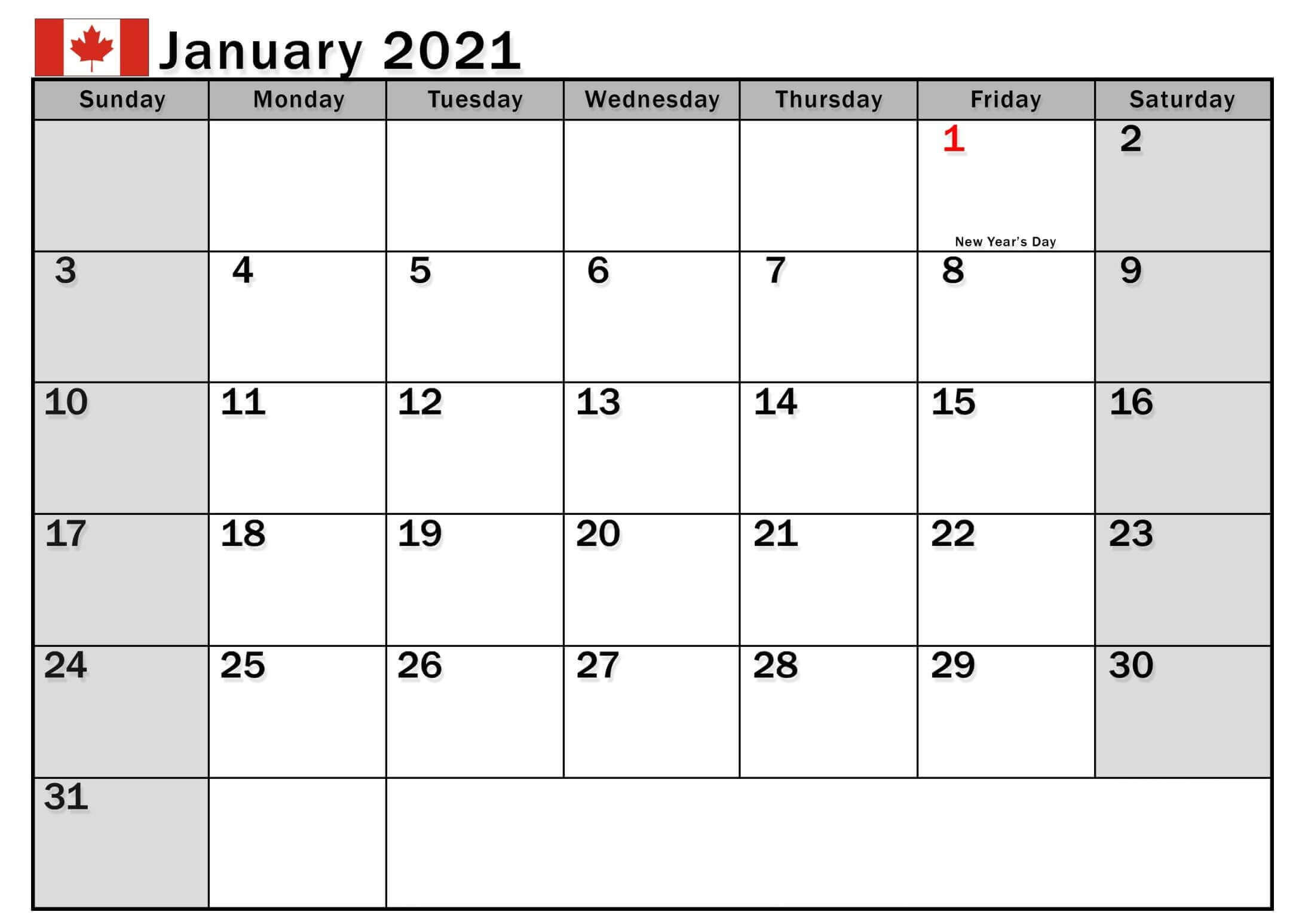 January 2021 Canada Calendar with Holidays