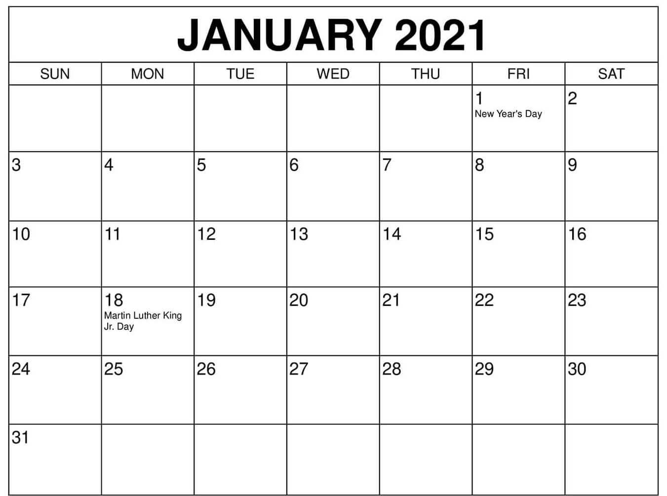 January 2021 Federal Holidays Calendar