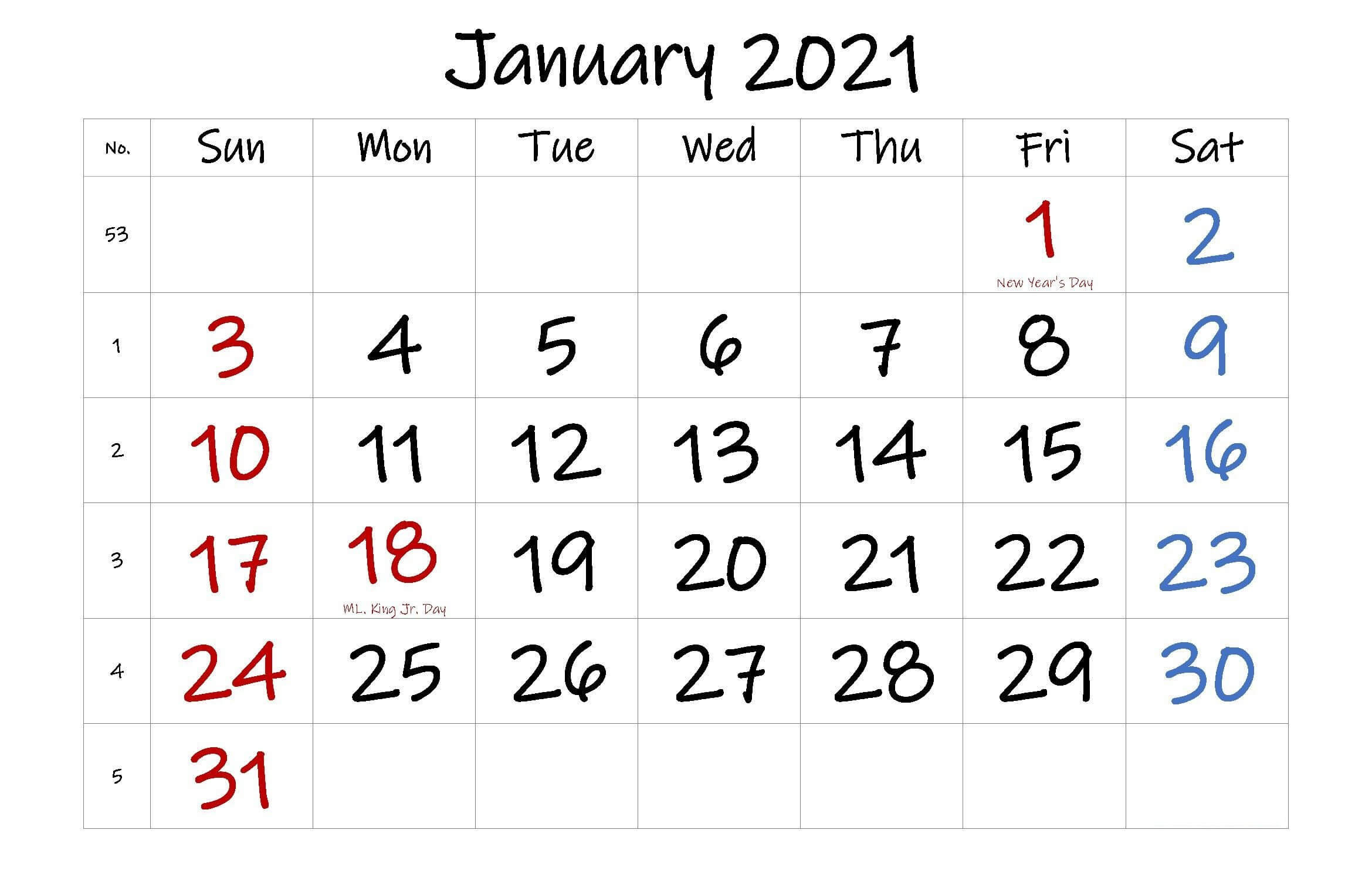 January 2021 Holidays Calendar
