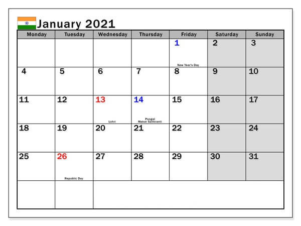 January 2021 Indian Holidays Calendar