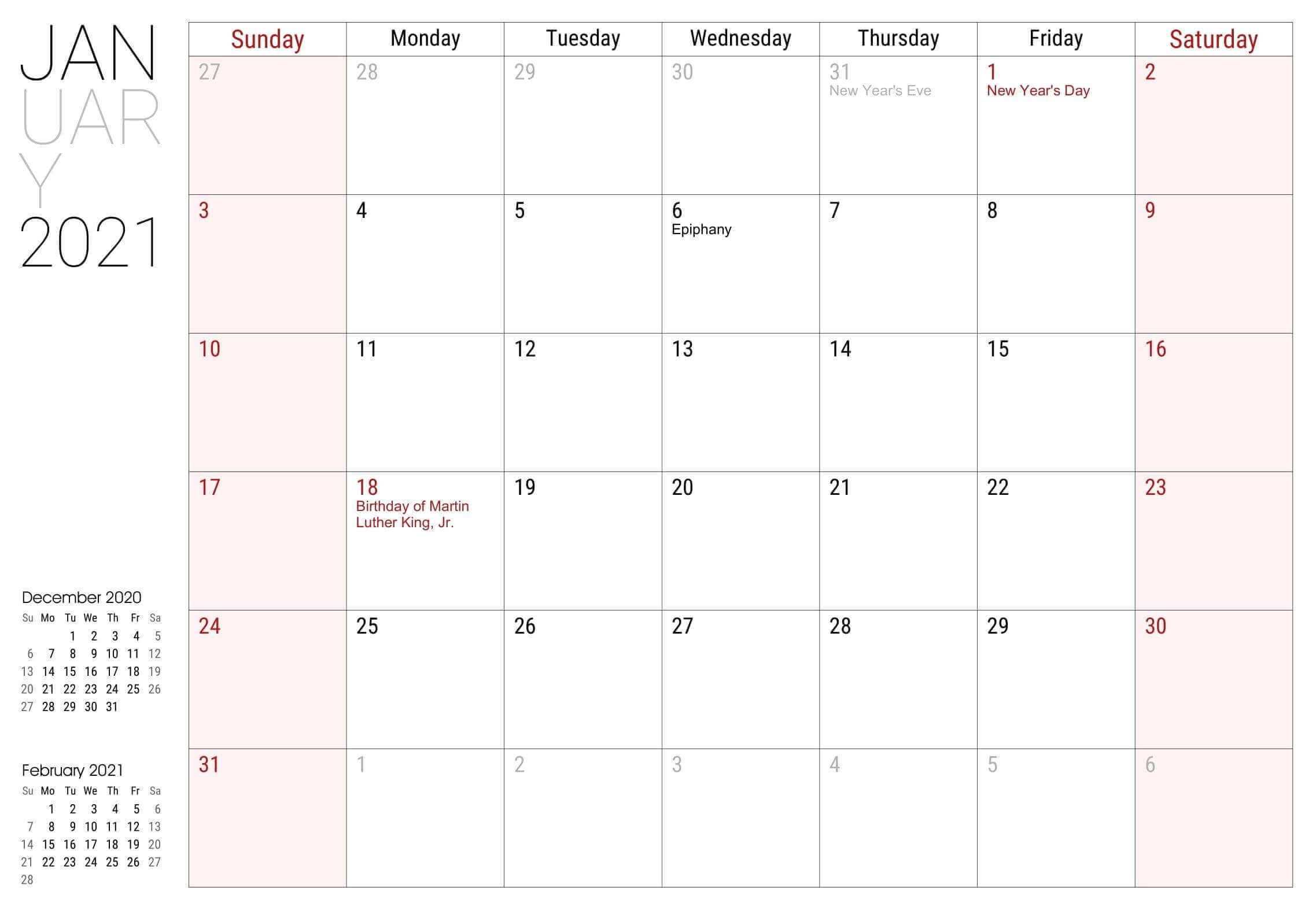 January 2021 Local Holidays Calendar