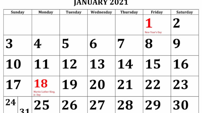 January 2021 School Holidays Calendar