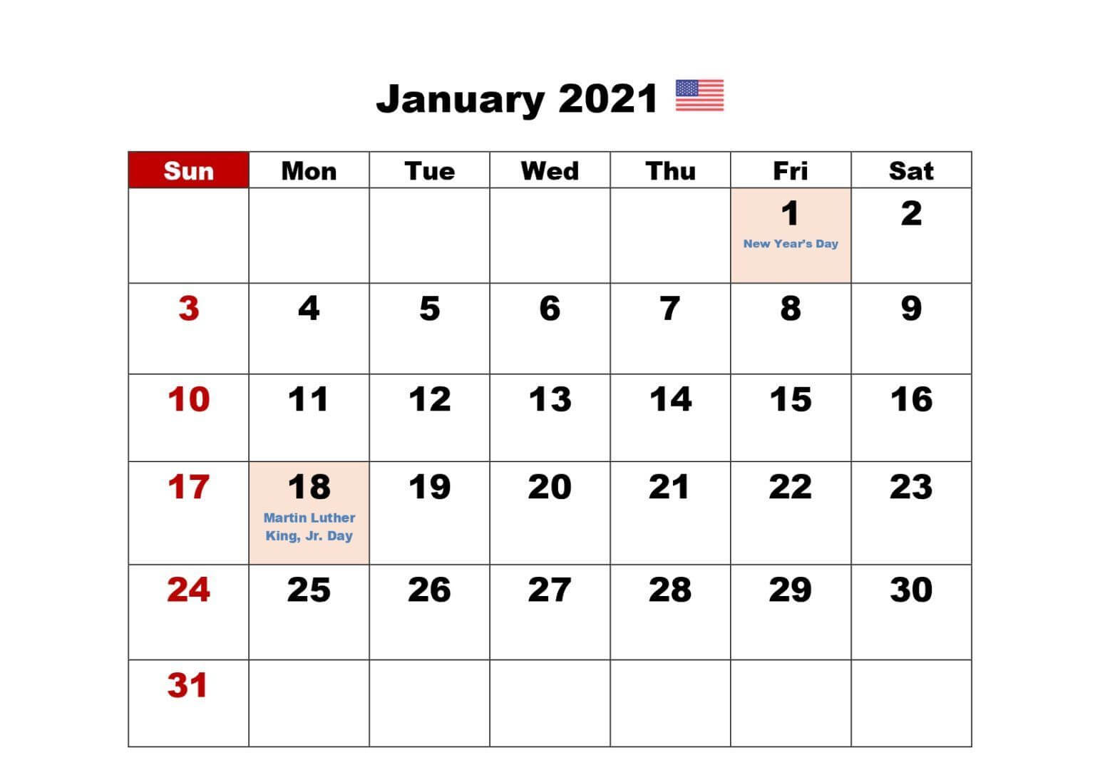 January 2021 USA Holidays Calendar