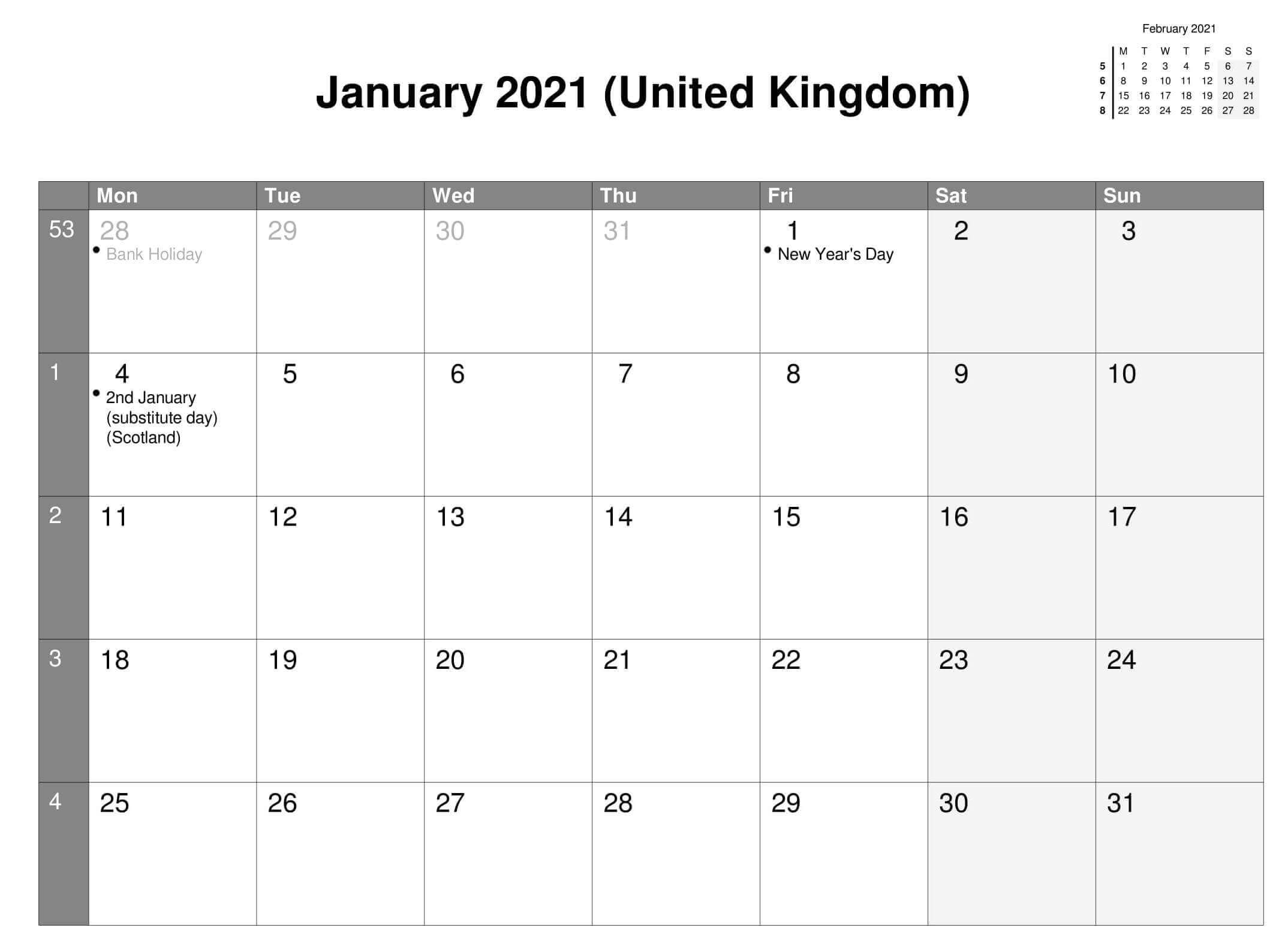 January 2021 United Kingdom Holidays Calendar