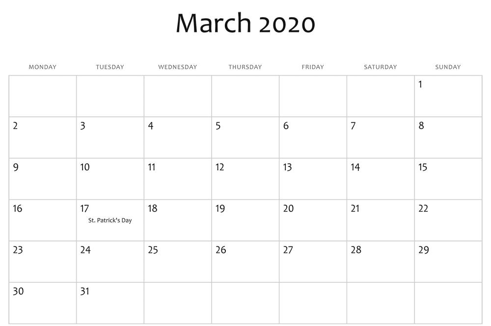 March 2020 Calendar Holidays UK