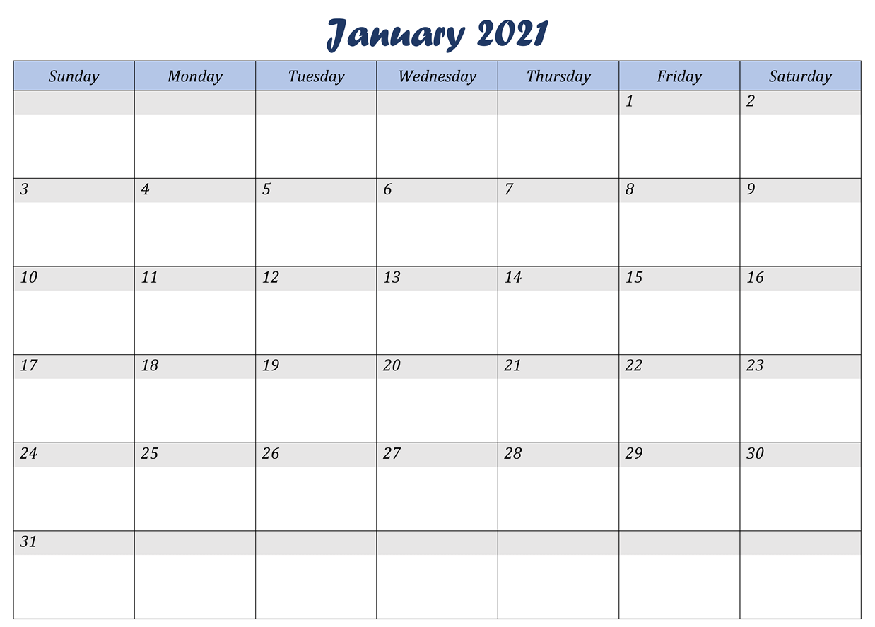 Monthly Calendar Template January 2021