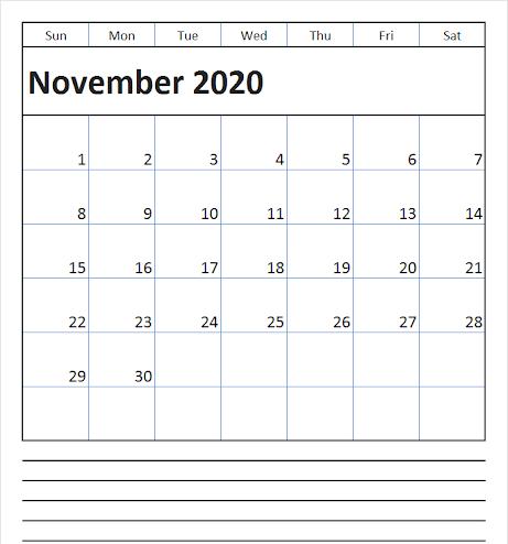 November 2020 Editable Calendar Planner