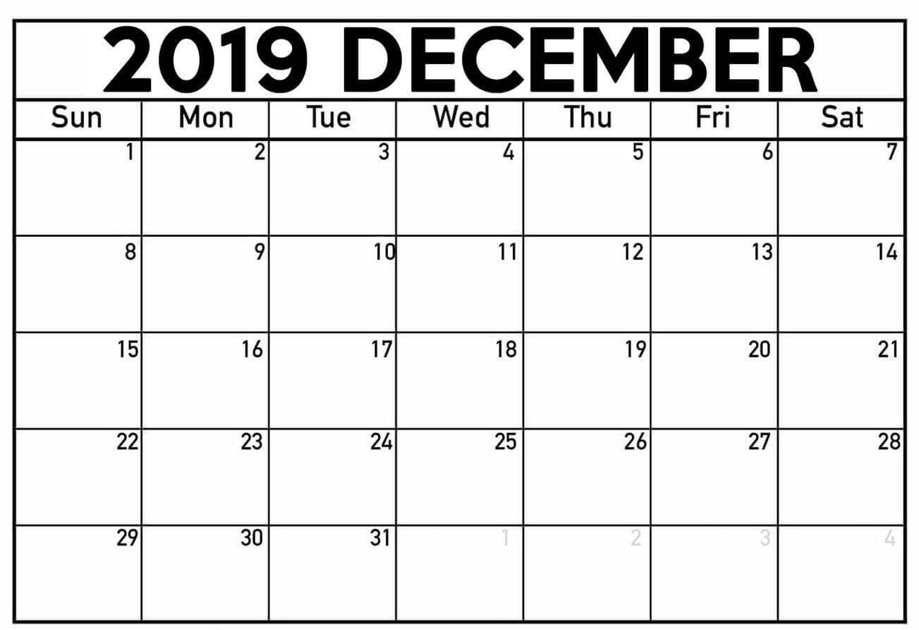 Printable December 2019 Calendar Fillable Templates
