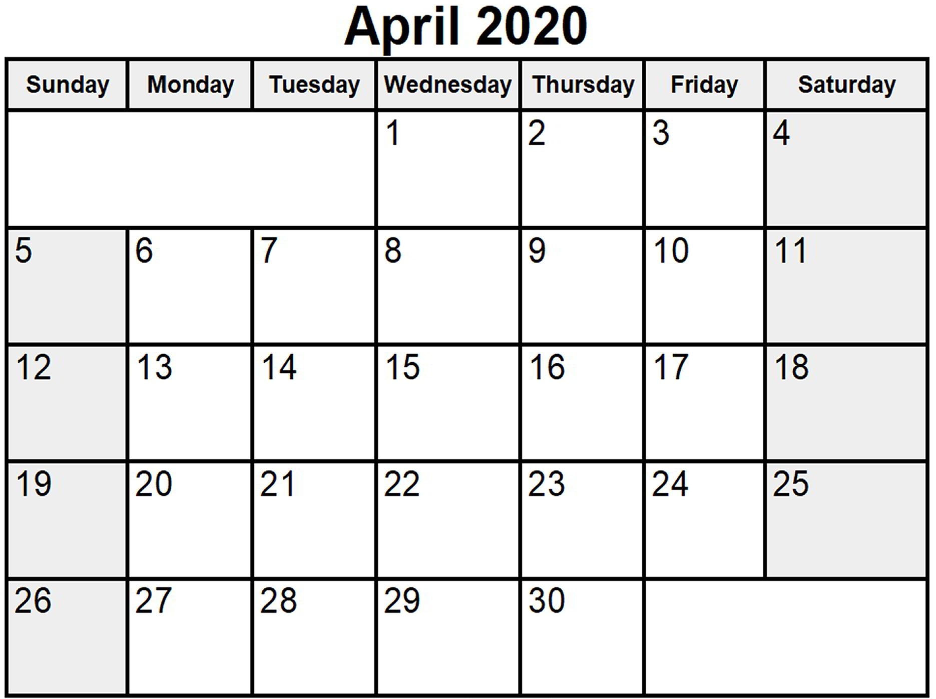 Printable April 2020 Holidays Calendar