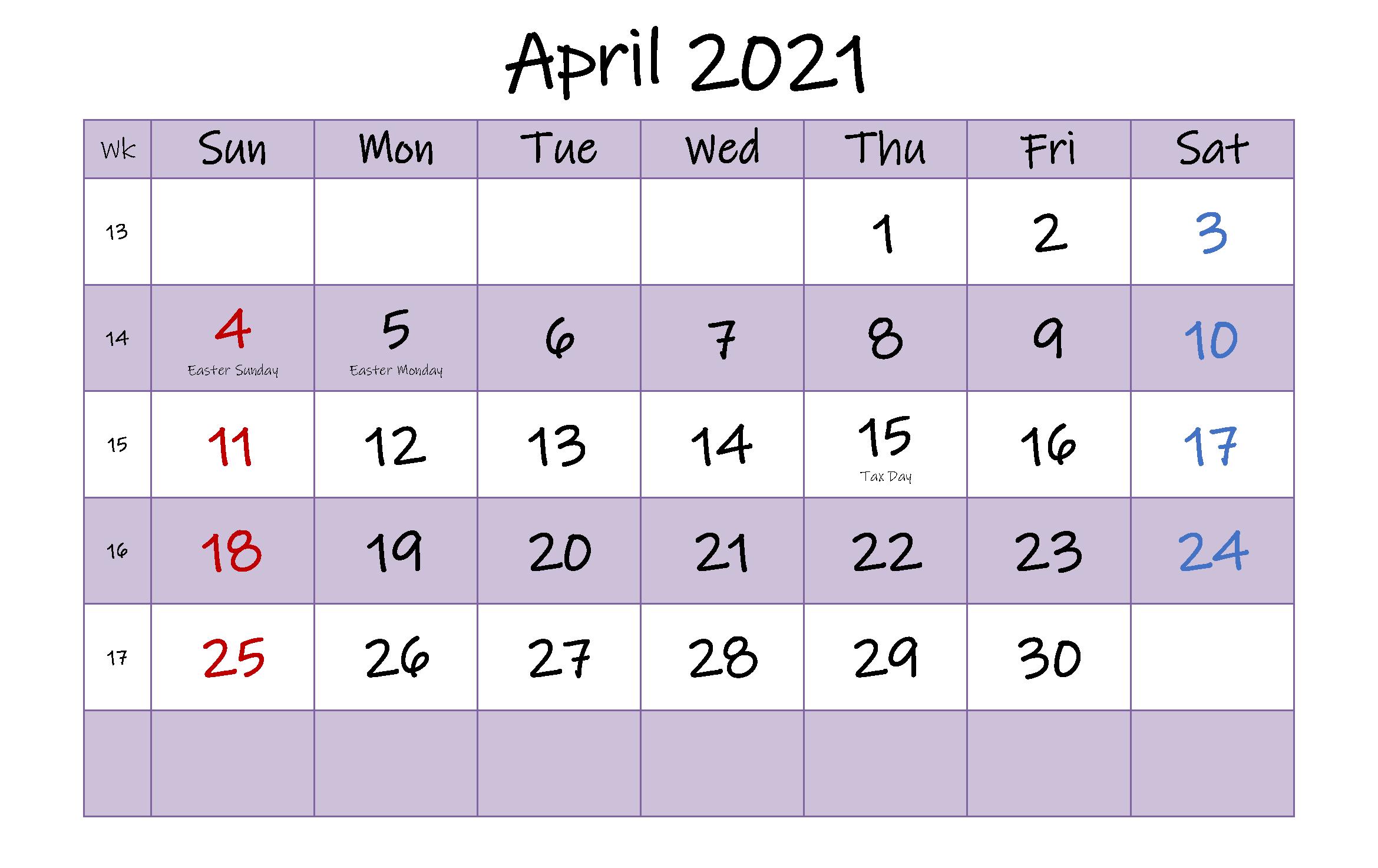Printable April Holidays 2021 Calendar Template
