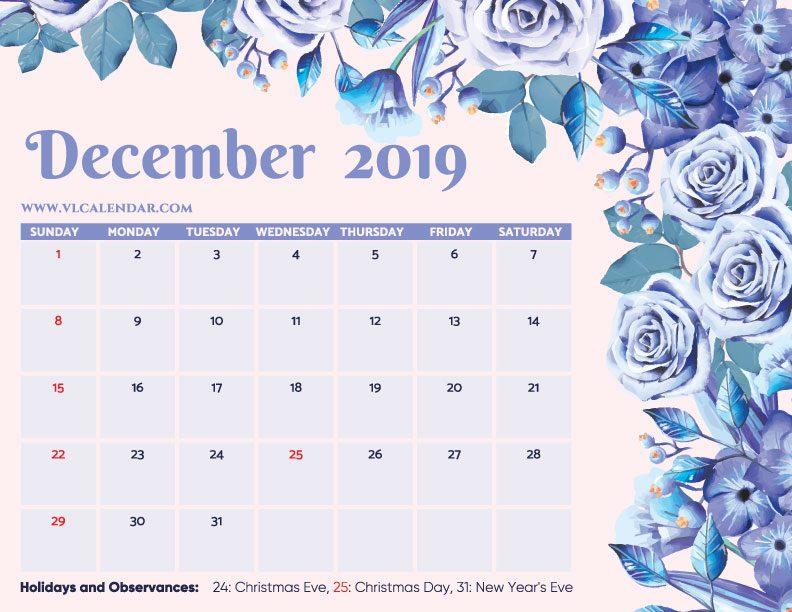 Printable December 2019 Floral Calendar with Holidays Landscape