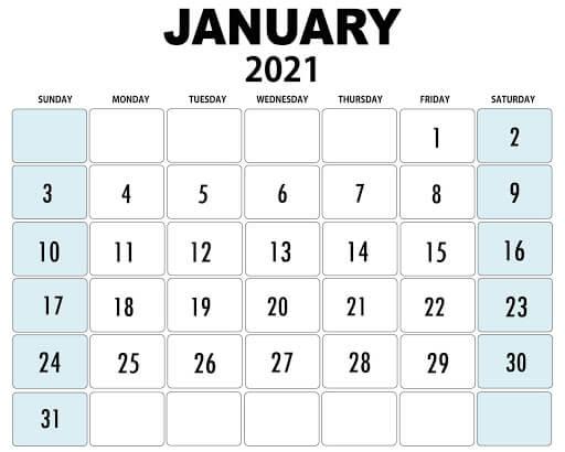 Printable January 2021 Editable Calendar