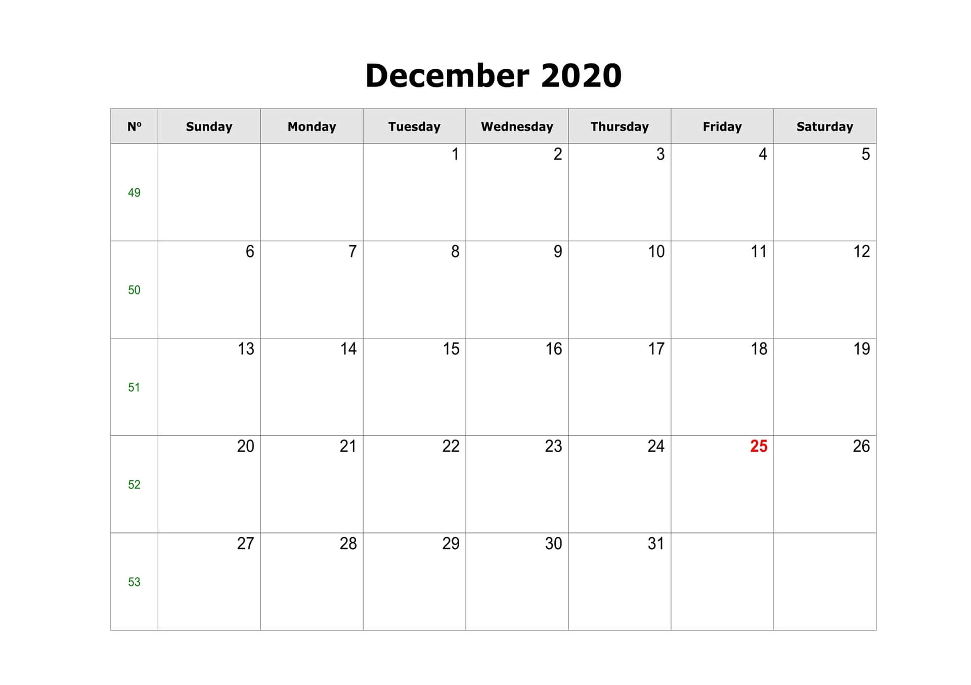 2020 December Fillable Calendar Printable